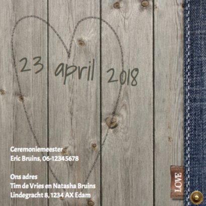 Stijlvolle trouwkaart met hout  en jeans design 2