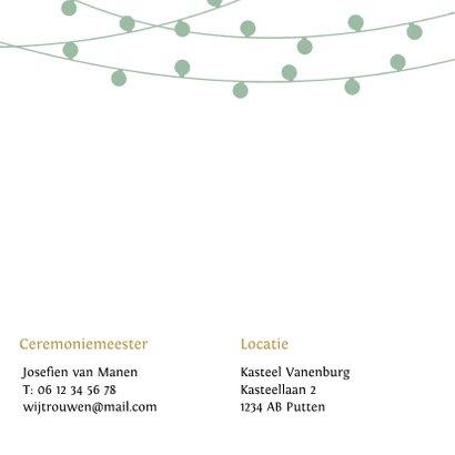Stijlvolle trouwkaart met lampjes slingers in eigen kleuren 2