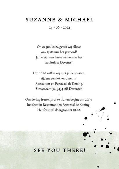 Stijlvolle trouwkaart met typografie, waterverf en spetters 3