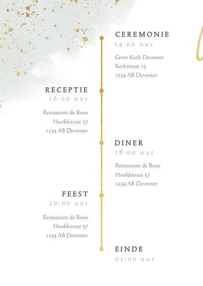 Stijlvolle trouwkaart met waterverf, takje & gouden spetters 2