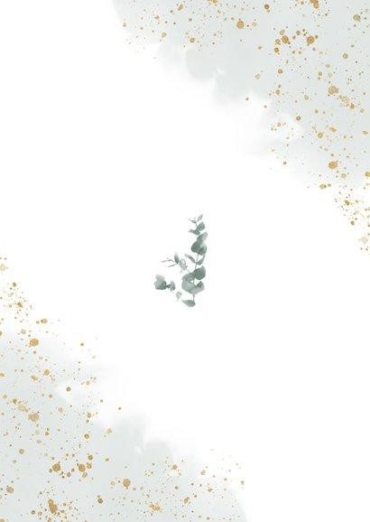 Stijlvolle trouwkaart met waterverf, takje & gouden spetters Achterkant
