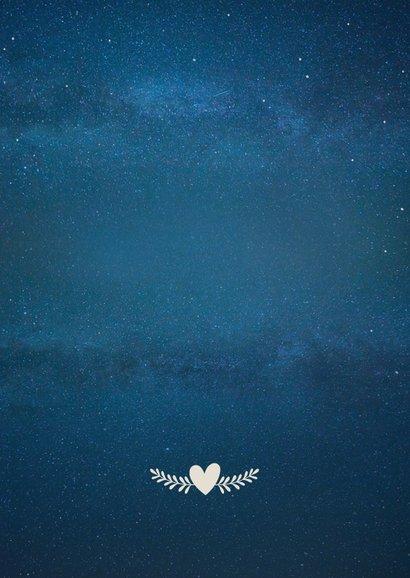 Stijlvolle trouwkaart nieuwe datum met silhouetje en maan  Achterkant