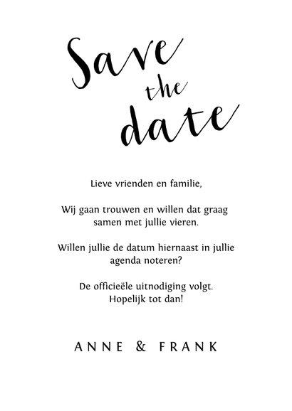 Stijlvolle trouwkaart save the date met fotocollage 3