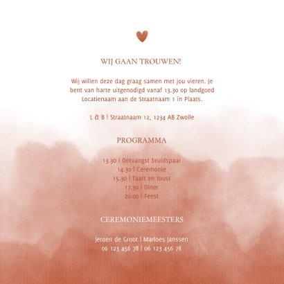 Stijlvolle trouwkaart terra roze waterverf met hartje 3
