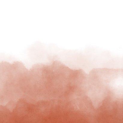 Stijlvolle trouwkaart terra roze waterverf met hartje Achterkant