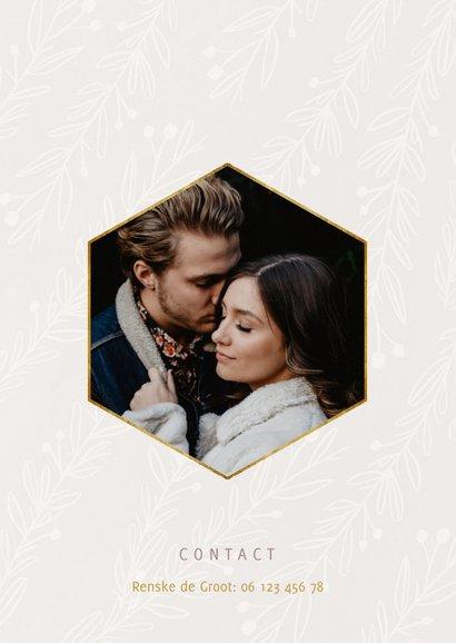Stijlvolle trouwkaart We Do goudlook tekst naturel takjes 2
