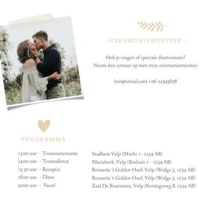 Stijlvolle trouwkaart wit met grote eigen foto en namen 2