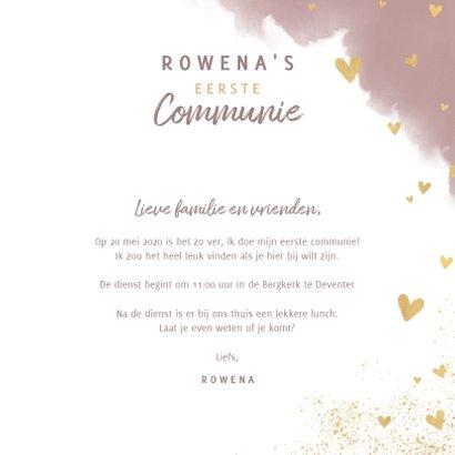 Stijlvolle uitnodiging eerste communie waterverf en hartjes 3