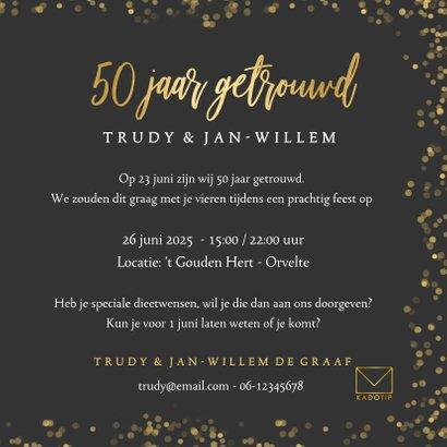 Stijlvolle uitnodiging gouden huwelijk met eigen foto  3