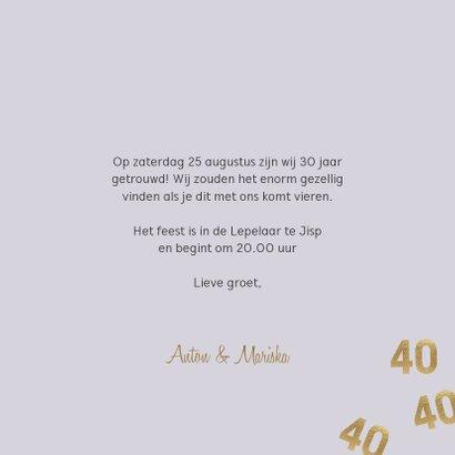 Stijlvolle uitnodiging huwelijk jubileum 40 jaar confetti 3