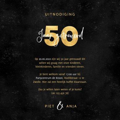 Stijlvolle uitnodiging jubileum 50 jaar getrouwd met foto's 3
