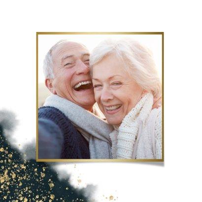 Stijlvolle uitnodiging kerstdiner waterverf & gouden tekst 2