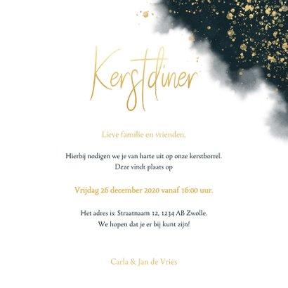 Stijlvolle uitnodiging kerstdiner waterverf & gouden tekst 3