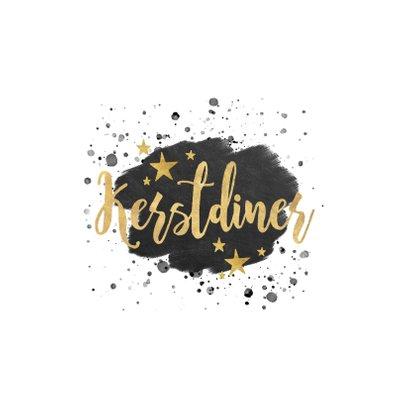 Stijlvolle uitnodiging kerstdiner zwarte verf & gouden tekst 2