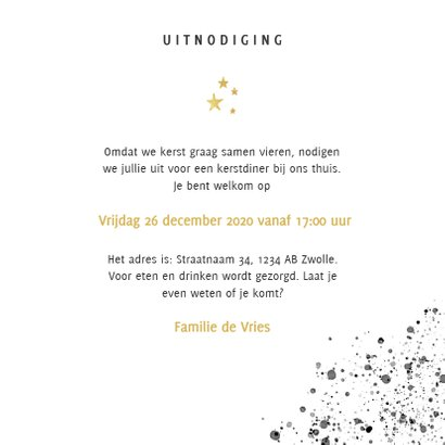 Stijlvolle uitnodiging kerstdiner zwarte verf & gouden tekst 3