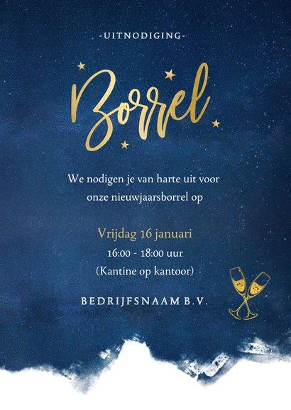 Stijlvolle uitnodiging nieuwjaarsborrel met sterren en goud 3