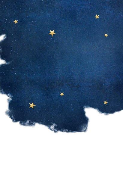 Stijlvolle uitnodiging nieuwjaarsborrel met sterren en goud Achterkant