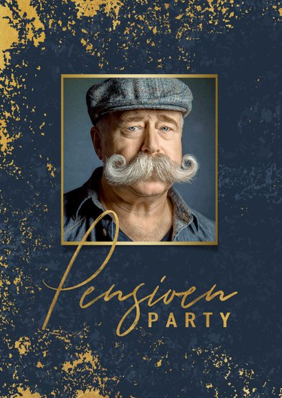 Stijlvolle uitnodiging pensioen feest gouden kader en foto 2