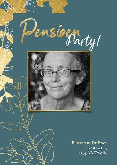 Stijlvolle uitnodiging pensioenfeest met gouden plantjes 2