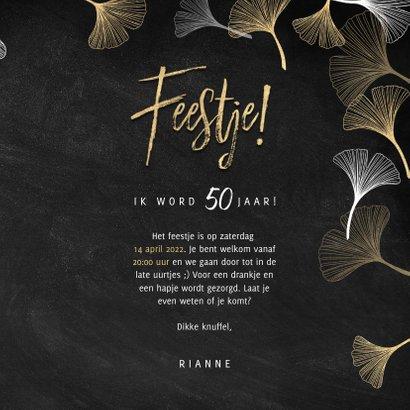 Stijlvolle uitnodiging verjaardag gouden ginkgo en Feestje! 3