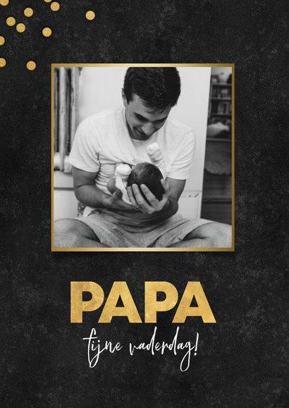 Stijlvolle vaderdag kaart fotocollage, zwart met gouden papa 2