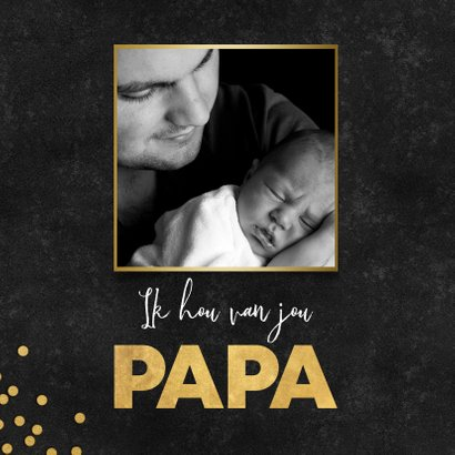 Stijlvolle vaderdag kaart zwarte achtergrond gouden papa 2