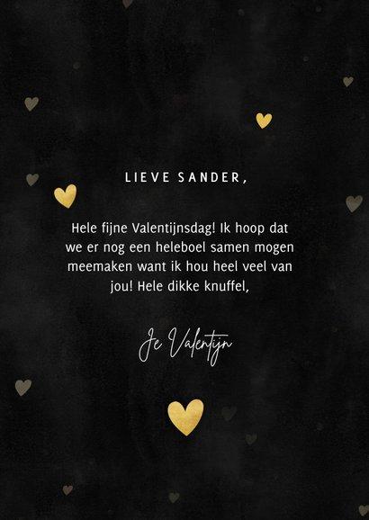 Stijlvolle Valentijnskaart gouden hartjes, foto 'I love you' 3
