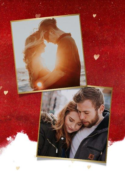 Stijlvolle valentijnskaart met gouden hart en knuffel 2