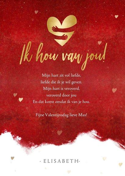 Stijlvolle valentijnskaart met gouden hart en knuffel 3