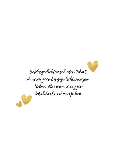 Stijlvolle valentijnskaart met gouden typografie en hartjes 2