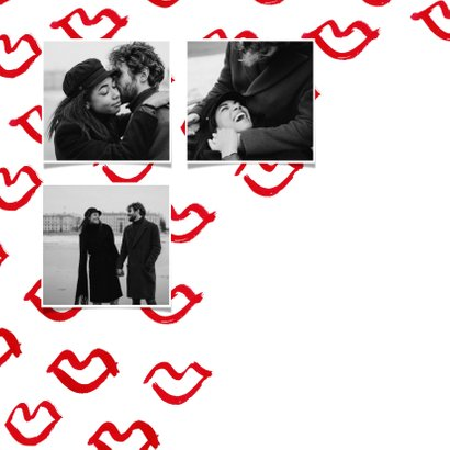 Stijlvolle valentijnskaart met rode kusjes 2