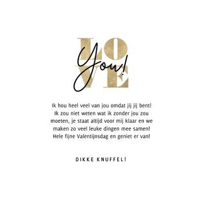 Stijlvolle Valentijnskaart typografie gouden Love you! 3
