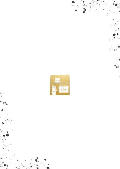 Stijlvolle verhuiskaart foto's gouden huisje en spetters Achterkant