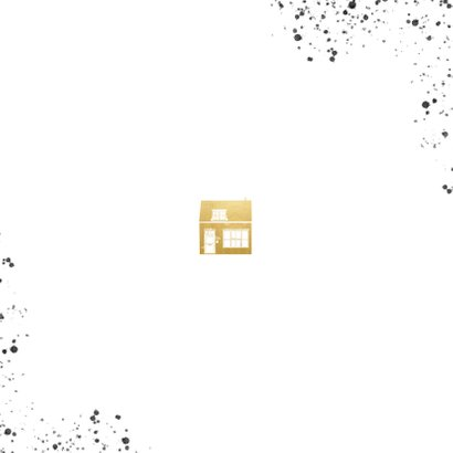 Stijlvolle verhuiskaart goud huisje en zwarte spetters Achterkant