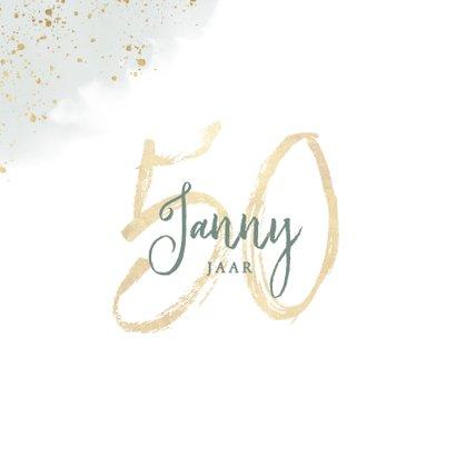 Stijlvolle verjaardagskaart 50 jaar eucalyptus en waterverf 2