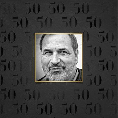 Stijlvolle verjaardagskaart 50 jaar gouden Happy Birthday! 2