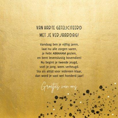 Stijlvolle verjaardagskaart goud spetters 50 met foto 3