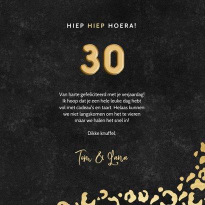 Stijlvolle verjaardagskaart gouden panterprint & folieballon 3