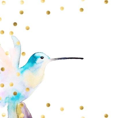 Stijlvolle verjaardagskaart  hummingbird met confetti 2