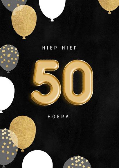 Stijlvolle verjaardagskaart man ballonnen, 50 en foto 2