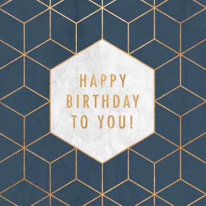 Stijlvolle verjaardagskaart met geometrisch patroon & marmer 2