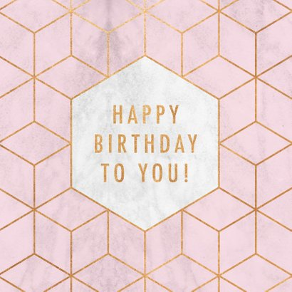Stijlvolle verjaardagskaart met gouden patroon en marmer 2