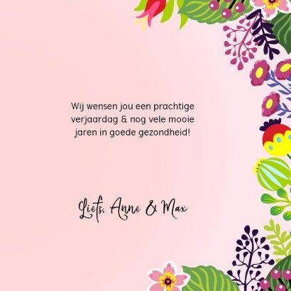 Stijlvolle verjaardagskaart met unicorn en bloemen 3