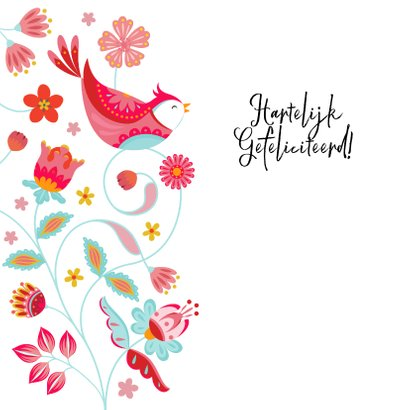 Stijlvolle verjaardagskaart met vogels en bloemen 2