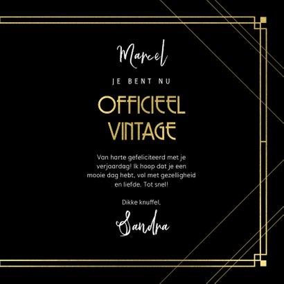 Stijlvolle verjaardagskaart officieel vintage, zwart en goud 3