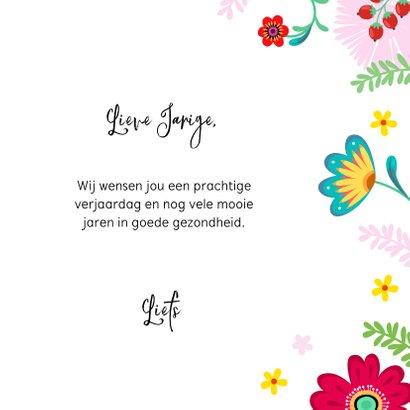 Stijlvolle verjaardagskaart papegaai met bloemen en planten 3