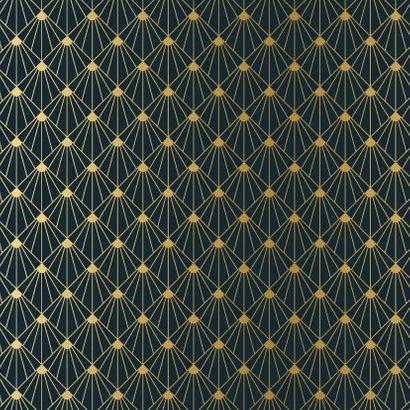 Stijlvolle vierkante art-deco kerstkaart met goud en blauw Achterkant