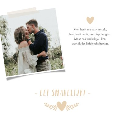 Stijlvolle witte menukaart huwelijk met namen en hartje 2