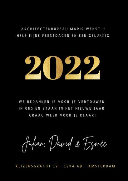 Stijlvolle zakelijke fotocollage kerstkaart met gouden 2022 3