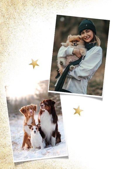 Stijlvolle zakelijke fotokaart gezonde kerst goudlook honden 2